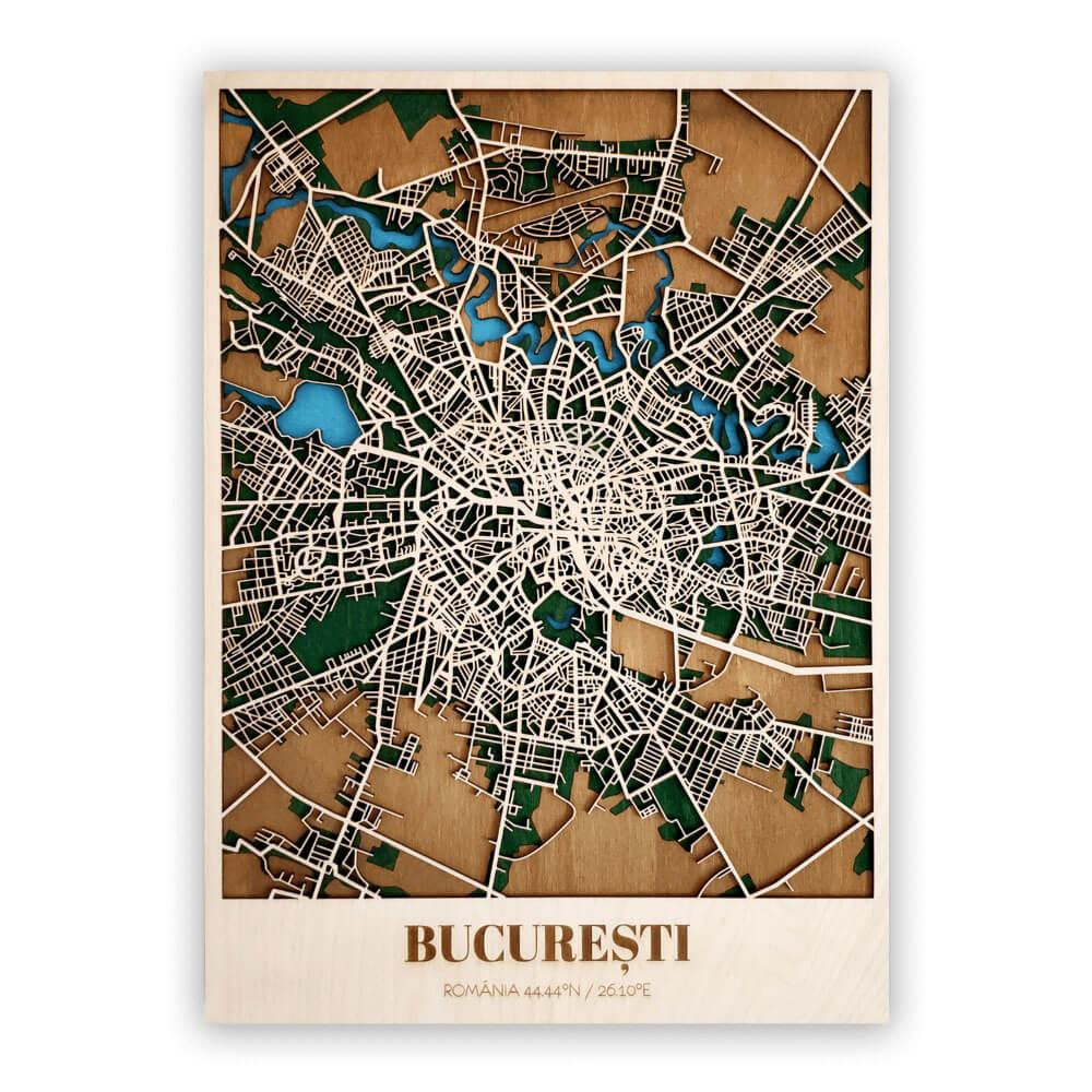 Harta-Bucuresti Lemn