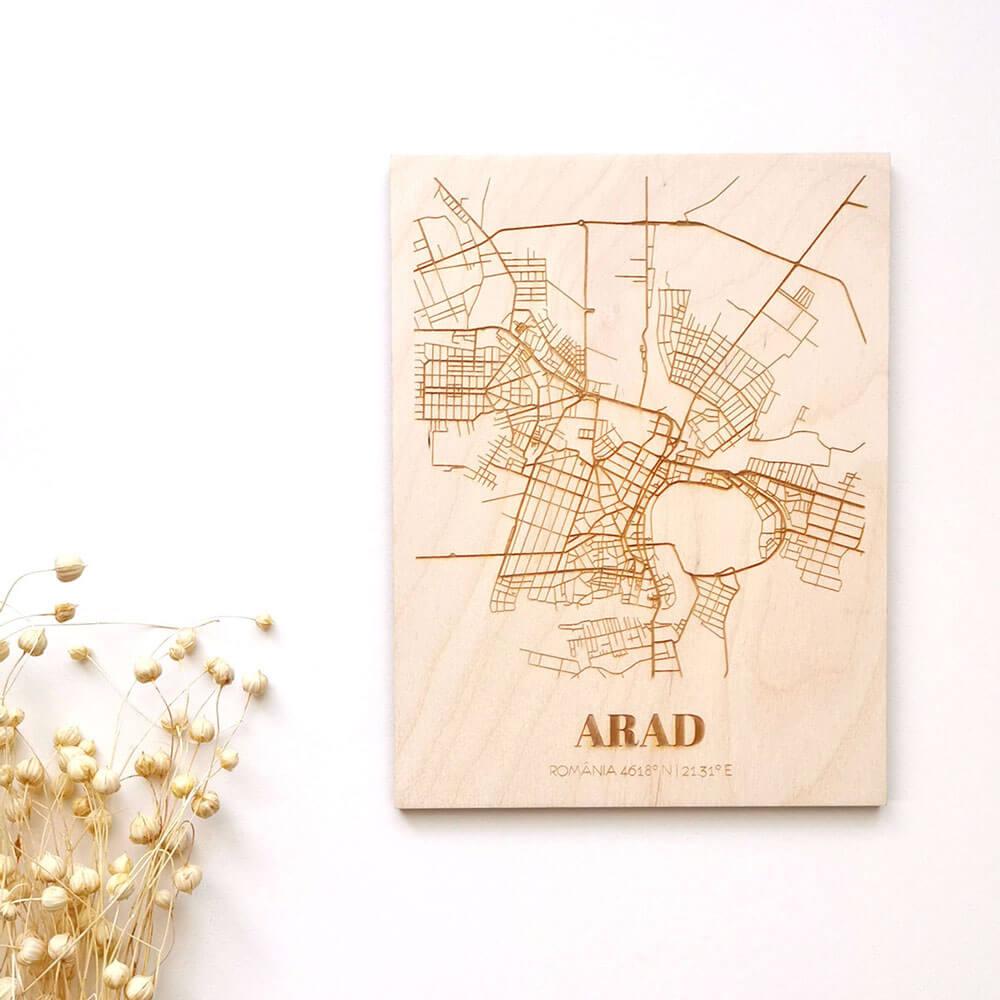 Hartă suvenir din lemn Arad