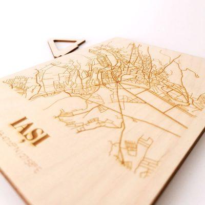 Hartă suvenir din lemn Iași