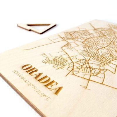 Hartă suvenir din lemn Oradea