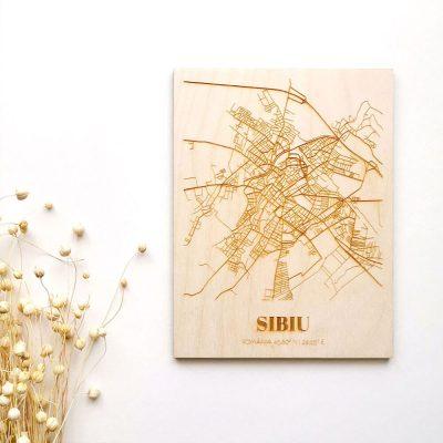 Hartă suvenir din lemn Sibiu